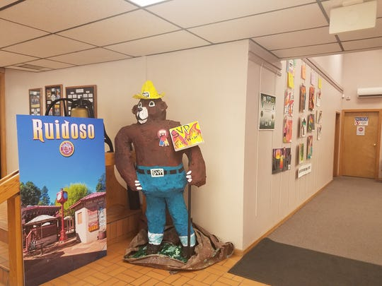 Being papier mache, this Smokey Bear created by Sierra Vista Primary sudents and teachers really has a big stake in preventing forest fires. Some of the wining artwork remained on display last week in village hall.