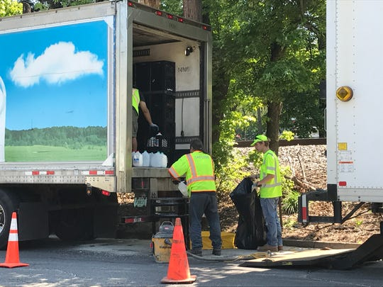 A diary truck spilled milk in Bergenfield Wednesday morning.