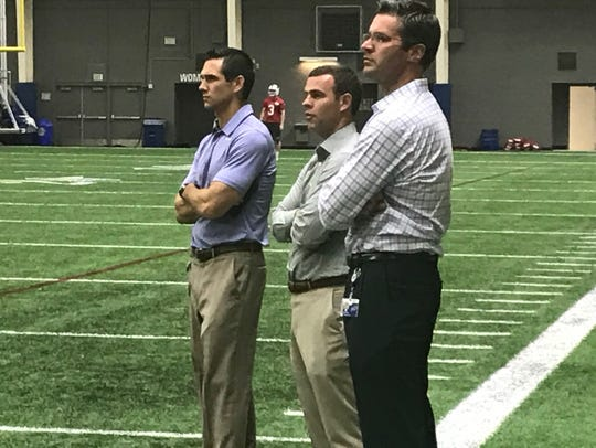 New Bills GM Brandon Beane (middle) is curious to see