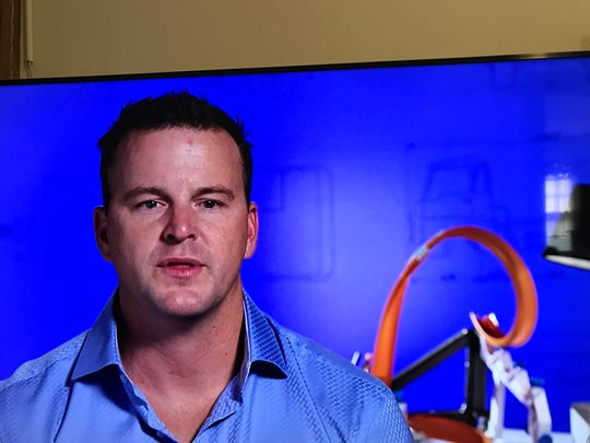 "Ryan Stewart, inventor of Artsplash, during the finale of ""The Toy Box"" reality show."