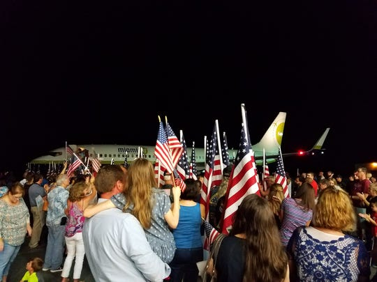 Honor Flight veterans were greeted by family and friends when they returned to Tallahassee late Saturday night.