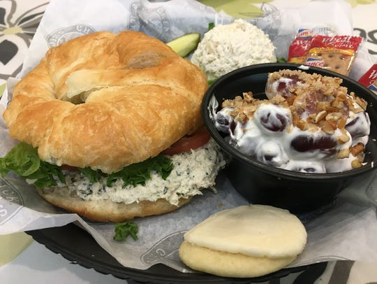 "A ""trio"" sampler of chicken salad and grape salad at"