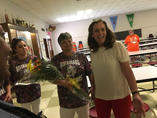 Virginia first lady Dorothy McAuliffe (right) with Riverheads Elementary School cafeteria manager Karen Eckard during an event celebrating Riverheads Elementary School winning the Virginia Breakfast Challenge.
