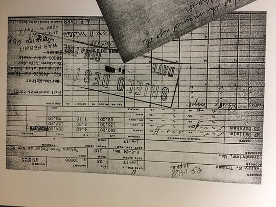 A ledger page details activity on a $10,000 life insurance