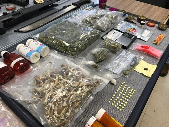 Drugs and weapons seized by Wayne Police in a raid of a home on Walker Avenue on May 23, 2017.