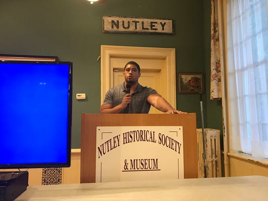 Professional Anthony Bowens speaks during the Nutley Museum's wrestling program.