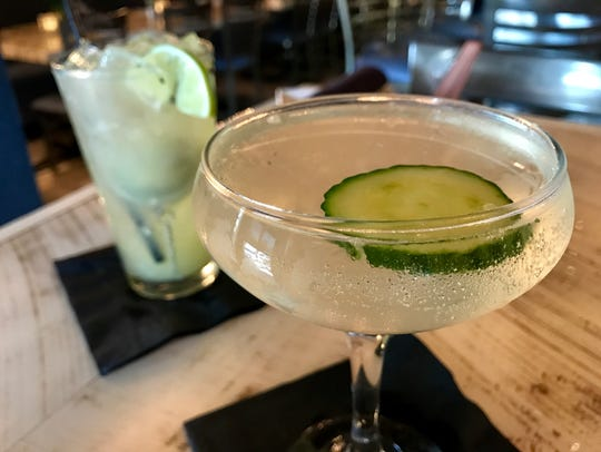 "The ""Cuke Your Enthusiasm"" is served in a coupe glass"