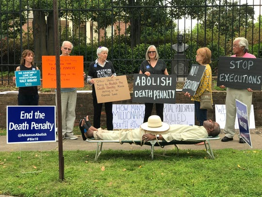Opponents of the death penalty protested in Arkansas