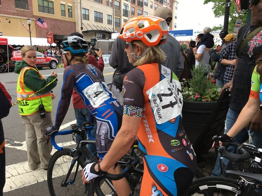 These female bike racers are  about to enter the Mildred Kugler Women's Pro bike race, the top race for women at the Tour of Somerville, 2017.