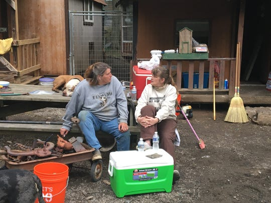 """Melissa """"Missie"""" Johns and Billie Reed discuss cleanup plans Sunday, May 29, 2017, at Mountainside Pet Rescue, Upper Strasburg Road. Johns built nine of the buildings at Mountainside, one of which was lost in the recent fire."""