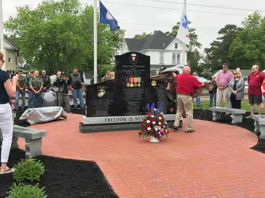The Cpl. Jerry C. Burkhead/Town of Parksley War Memorial was officially unveiled during a ceremony on Monday at the Parksley Town Square. Burkhead's sister Shirley Johnson spearheaded the effort to raise a monument memorializing her brother and all fallen soldiers from Accomack County.