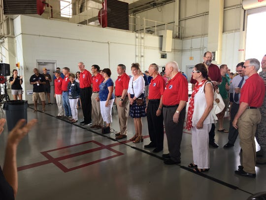 Gathering of Eagles conclude with celebratory barbecue at a Maxwell Air Force Base hanger with food and static displays.