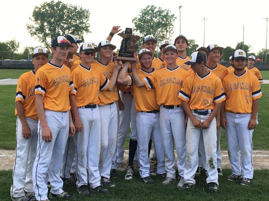 The Algonac High School baseball team claimed the Division 2 district title Saturday at Marine City.
