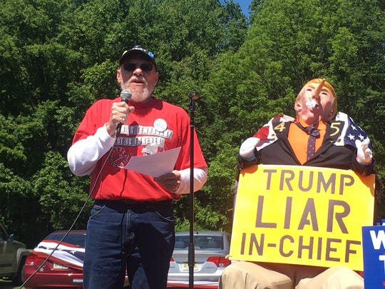 Jim Girvan, of Branchburg, speaking at the March for Truth in Bedminster.