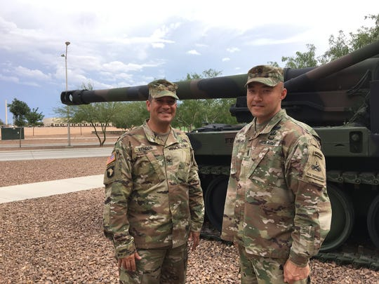 Col. Andy Rendon, left, and Command Sgt. Maj. John Condliffe have led DIVARTY for the past 23 months. They relinquish command on June 13.
