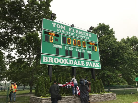 The sign at the Tom Fleming Athletic Complex in Essex County's Brookdale Park