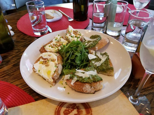 Ricotta-honey-pignoli & walnut pesto bruschettas at