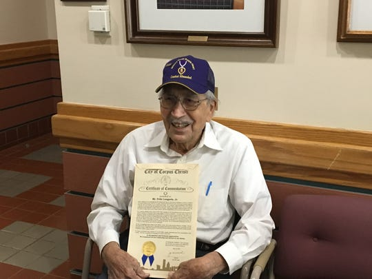 Felix Longoria received a proclamation from the city of Corpus Christi during a regular meeting on May 23, 2017.