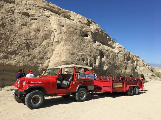 Blind and visually impaired students from the Braille Institute in Rancho Mirage tour the San Andreas Fault with Desert Adventures Red Jeep Tours. (June 2017)