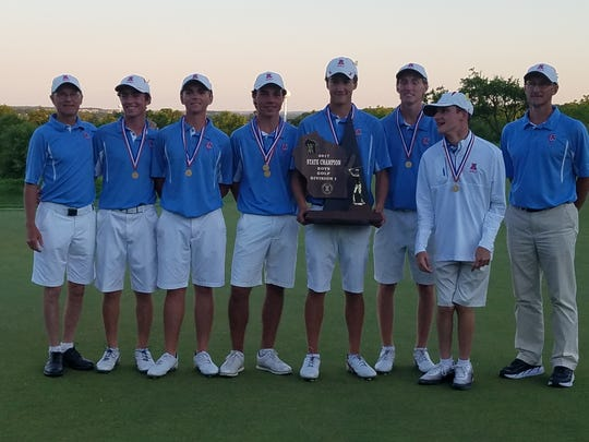 The Arrowhead boys golf team won the Division 1 state championship in 2017, capping a year in which it finished below first place just once in any meet. Members of the team are (from left) head coach Greg Budzien,  Zachary Reiser,  Matthew Raab,  Piercen Hunt (individual state champion), Bennett Knapek, Alex Yost, Matthew Frisinger and assistant coach Greg Bisbee.
