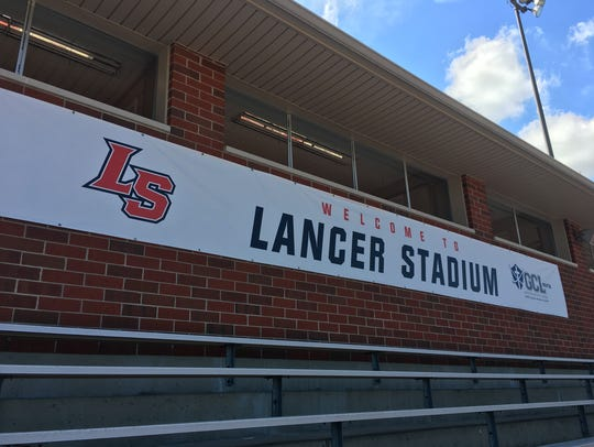 Press box banner for Lancer Stadium after the ribbon-cutting