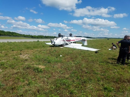 This small plane crashed Thursday, June 8, 2017, at John C. Tune Airport in Nashville.