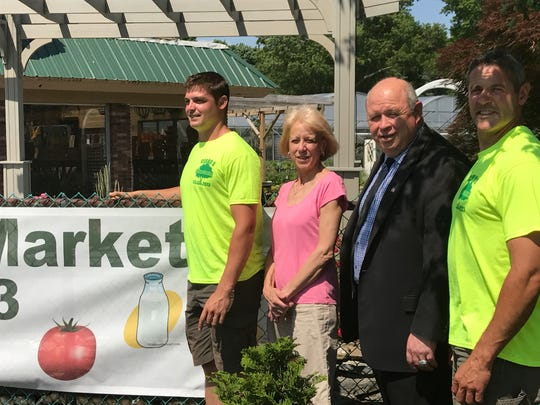 Parsippany Mayor James Barberio, second from right, with members of the Cerbo family, who will host the 2017 Parsippany Farmer's Market at their retail location on Littleton Road.