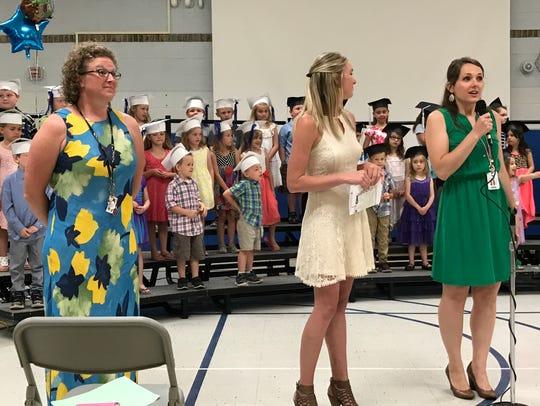 Kindergarten teachers Aimee Verellen, Lauren Zaleski