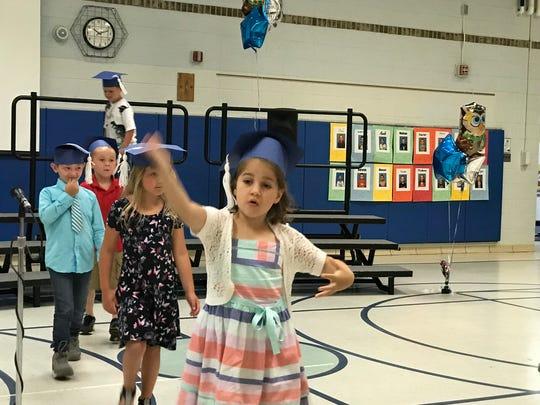 Oxbow Elementary School kindergarteners take part in
