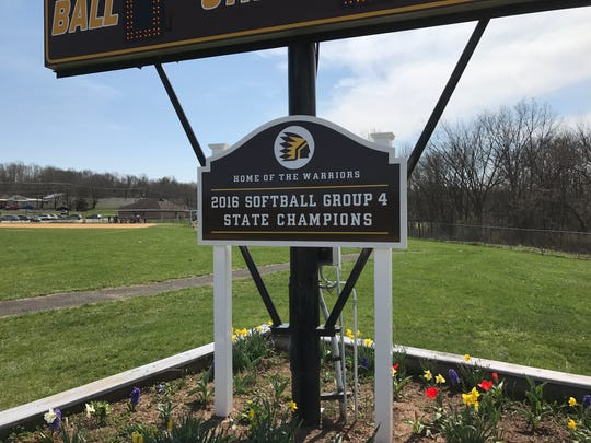 Scoreboard sign commemorating Watchung Hills 2016 state Group IV championship