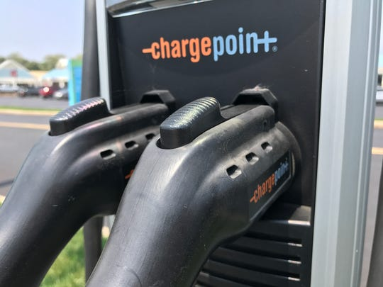 A dual-port ChargePoint station for electric vehicles in Delaware.