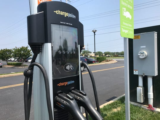 In this file photo, a public charging station for electric vehicles in Rehoboth Beach. A businessman is donating four similar chargers to the City of Lewes to turn it into a vacation destination for electric car fans. Ocean City announced Tuesday it would begin charging for the use of the stations.