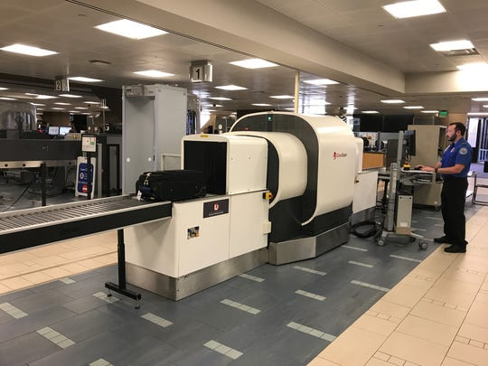 The new CT scanner for carry-on bags being tested at Phoenix Sky Harbor International Airport's Terminal 4.