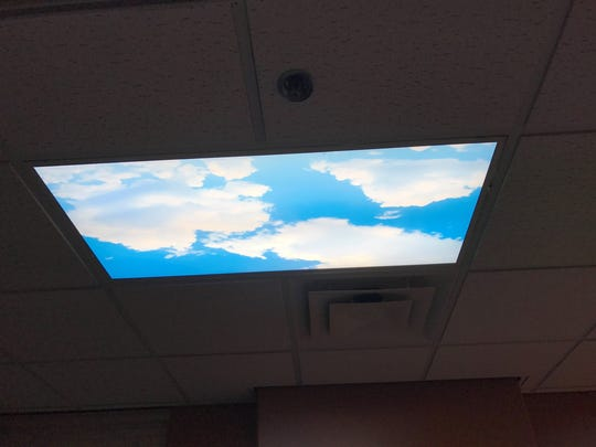 A light cover in the acupuncture office of the VA Health