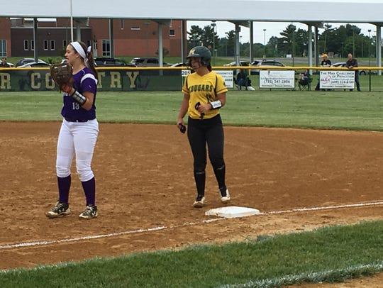 Montgomery shortstop Kira Ferraiolo (right)