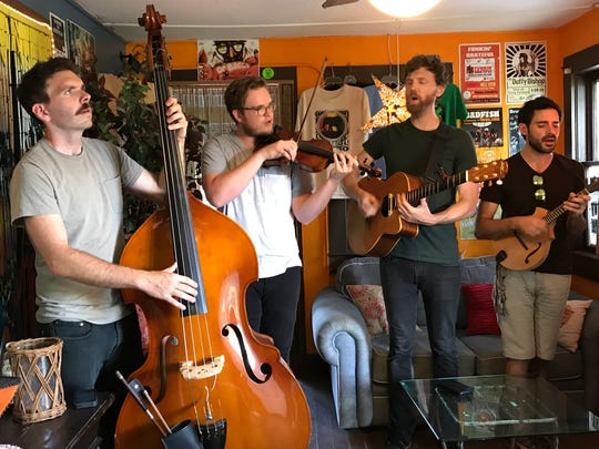 """Humming House performs Friday in the """"green room"""" of Terra Fermata in downtown Stuart. Ben Jones (from left), Bobby Chase, Justin Wade Tam and Josh Wolak."""