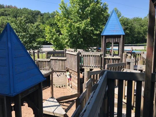 Carrier Park in West Asheville has a sprawling wooden playground.