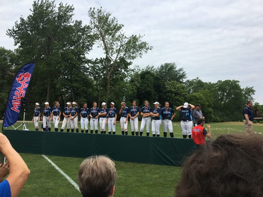 The Richmond softball team is awarded medals for placing