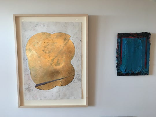 Artwork done by Hans Breder hangs in his apartment