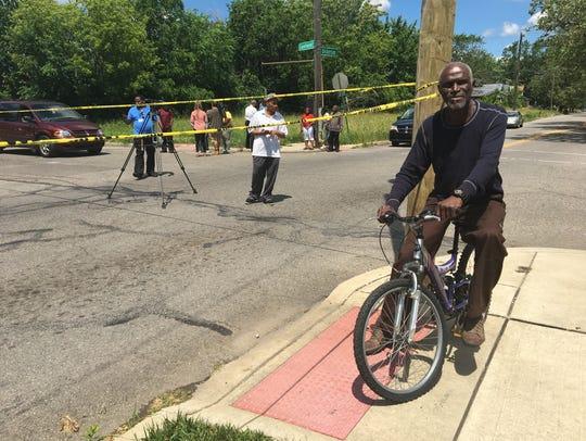 Bennie Walker, 70, rode his bicycle June 21, 2017 near