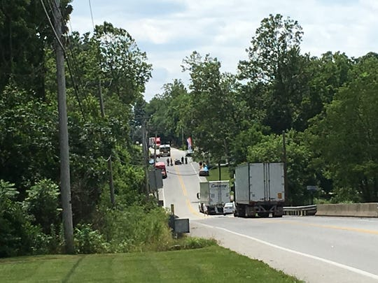 A crash involving a motorcycle closed down part of Rt. 116 in Heidelberg Township on Wednesday.