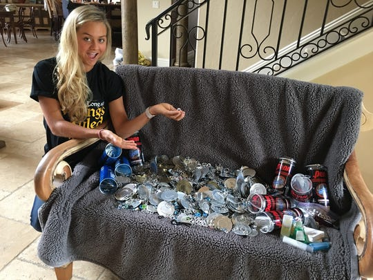 Gabrielle Magnant has collected about 5,000-8,000 tabs – or about 20 pounds - thanks to those she's connected with at Bishop Verot High, Fort Myers Cardio Tennis and First Level Church. It's for the Ronald McDonald House, where Magnant volunteers. She also collected 1,000 hotel toiletries for the Ronald McDonald House, which puts them in welcome baskets for the families.