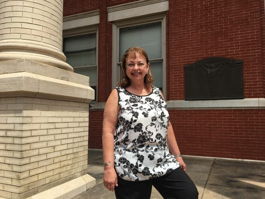 Pam Carter, of Swoope, poses for a photo in front of the Augusta County Courthouse in Staunton, Va., on Thursday, June 22, 2017. She is running for the Pastures District seat on the Augusta County Board of Supervisors.