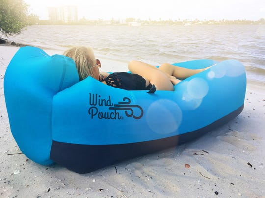 The Wind Pouch inflatable hammock is sold locally at Wind & Wave Watersports.