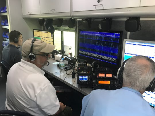Radio controllers inside a call truck use Morse code