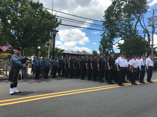 Fort Lee police assemble for the funeral of Officer