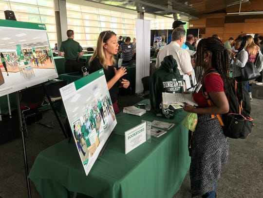 An incoming student learns about services at the Binghamton