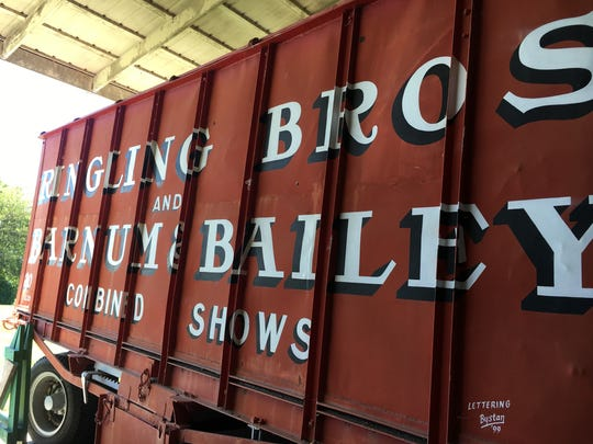 A retired Ringling Bros. and Barnum & Bailey circus wagon sits in a barn in Peru, Ind., at the Circus Hall of Fame.