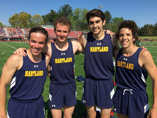 Hartland's 3,200-meter relay team consisted of (left