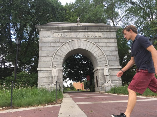 An arch marks where Camp Randall was located in Madison during the Civil War. Now a sports stadium, the area was once a major training area for Union troops.